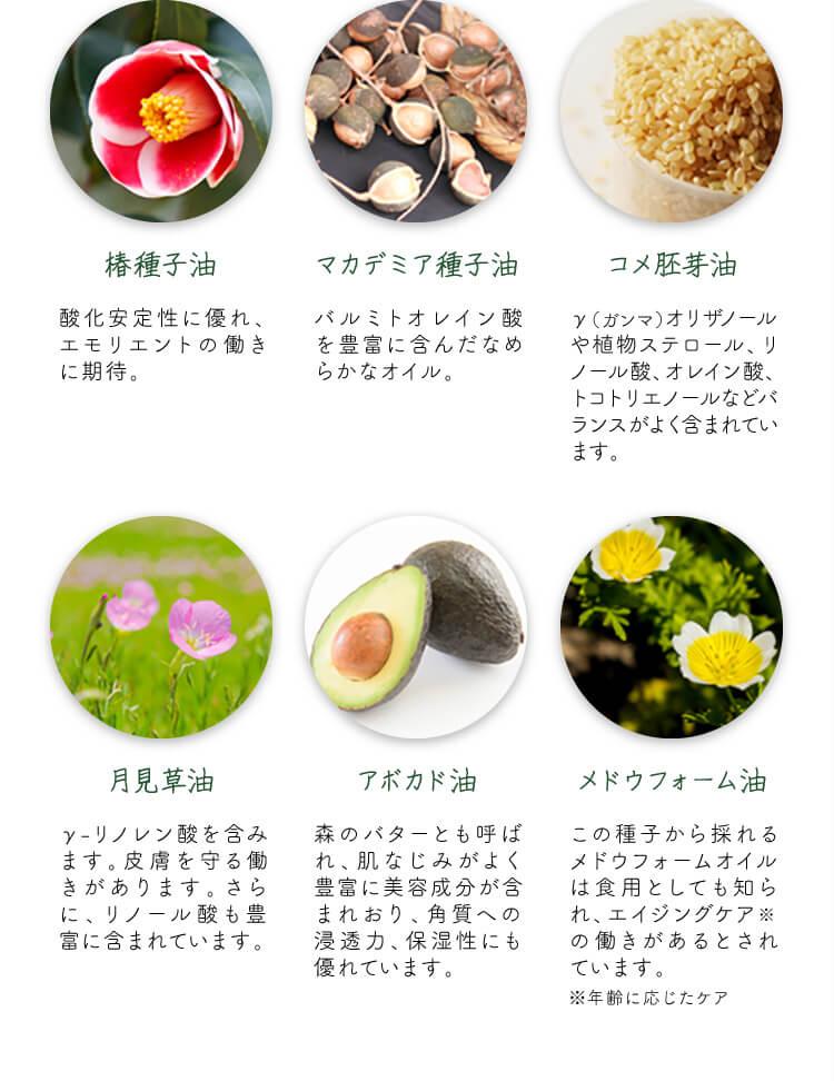 肌を守る、12種類の保湿天然オイル2